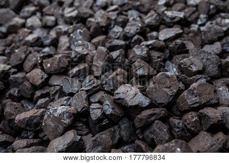 Pile of coal, household heating. Industry and bussiness.