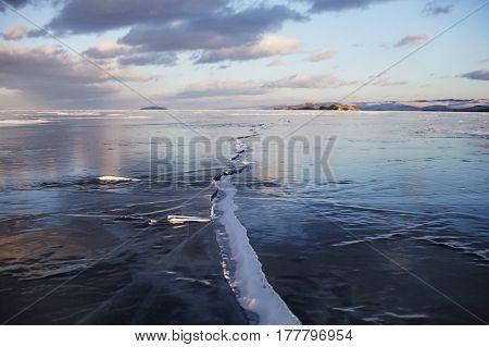 Lake Baikal Landscape, Crack In Ice. Winter