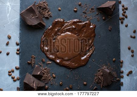 Preparing chocolate sauce for a chocolate cake. Close-up image of hot liquid chocolate