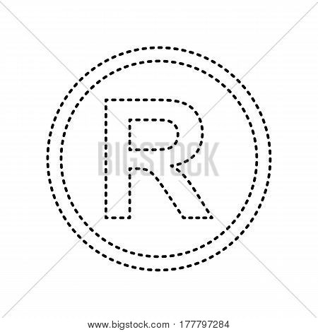 Registered Trademark sign. Vector. Black dashed icon on white background. Isolated.