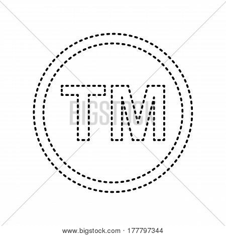 Trade mark sign. Vector. Black dashed icon on white background. Isolated.