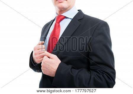 Close-up Of Senior Business Man Holding Jacket