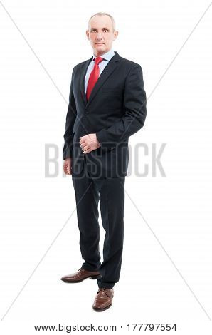 Full Body Senior Business Man Standing Being Serious