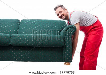 Mover Guy Holding Up Couch While Moving
