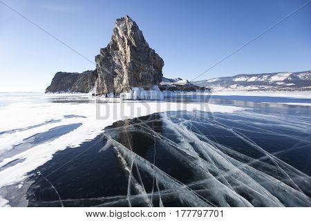 Cracks In Ice. Lake Baikal, Oltrek Island. Winter Landscape
