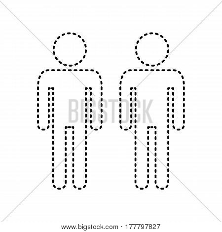 Gay family sign. Vector. Black dashed icon on white background. Isolated.