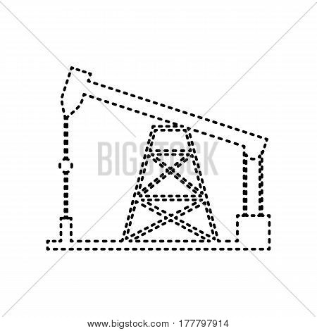 Oil drilling rig sign. Vector. Black dashed icon on white background. Isolated.