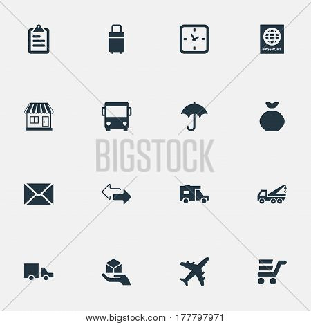 Vector Illustration Set Of Simple Carting Icons. Elements Hand , Envelope , Minutes Synonyms Umbrella, Identity And Watch.