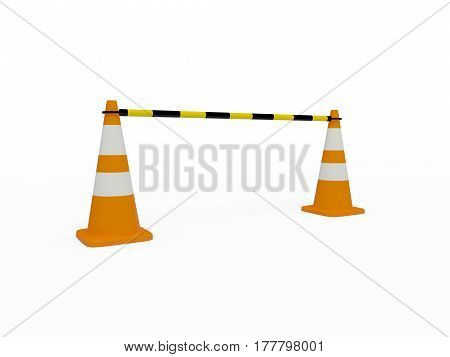 Two traffic cones with black and yellow jumper