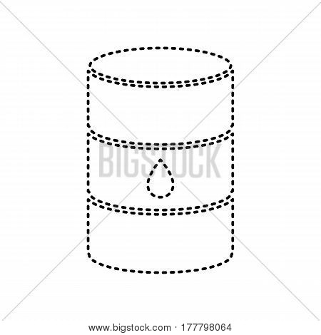 Oil barrel sign. Vector. Black dashed icon on white background. Isolated.