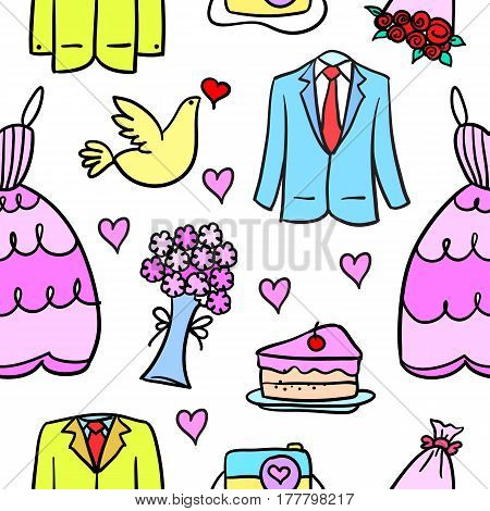 Vector art of wedding element doodle style collection