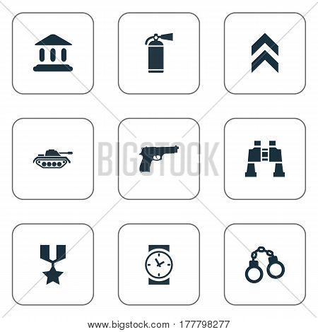 Vector Illustration Set Of Simple Military Icons. Elements Courthouse, Manacles, Watch And Other Synonyms Courthouse, Prison And Clock.