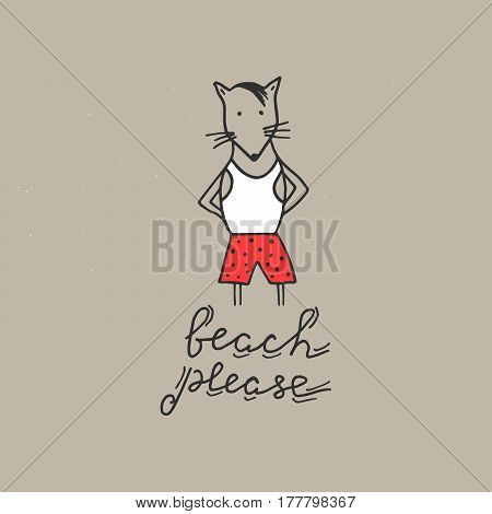 Summer vacation card. Hand drawn vector illustration. Beach please lettering.