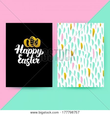 Easter 80s Funky Style Posters. Vector Illustration of Trendy Pattern Design with Handwritten Lettering.