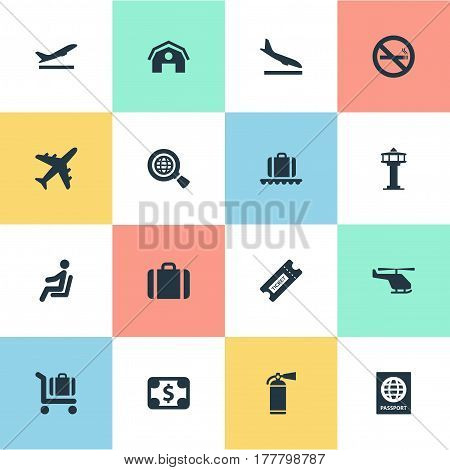 Vector Illustration Set Of Simple Plane Icons. Elements Currency, Protection Tool, Garage And Other Synonyms Conveyor, Aircraft And Helicopter.