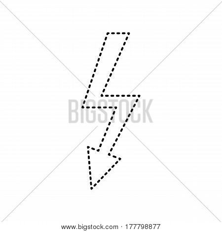 High voltage danger sign. Vector. Black dashed icon on white background. Isolated.