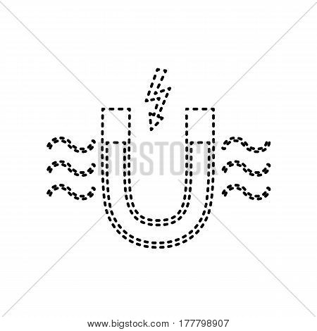 Magnet with magnetic force indication. Vector. Black dashed icon on white background. Isolated.