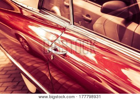 Detail Of Red Vintage Retro Car. Handle