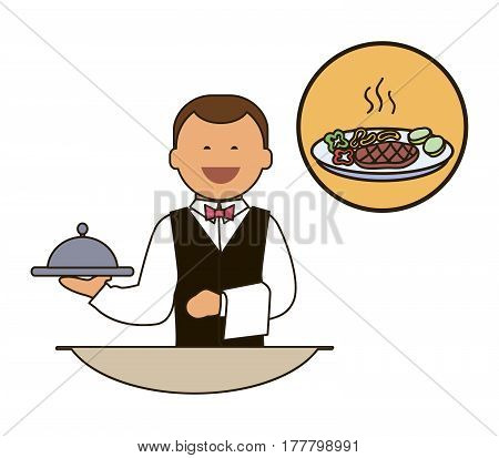 Waiter. Catering staff. Restaurant team. Colored icon on white background