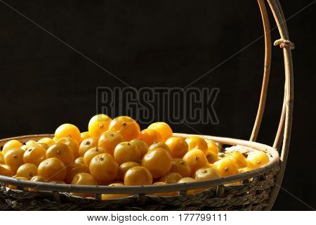 Fruit orange (Citrus Japonica Thunb) in basket.