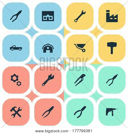Vector Illustration Set Of Simple Repair Icons. Elements Wrench, Adjustable Wrench, Carpentry Equipment And Other Synonyms Repair, Cart And Instrument.