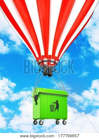 dumpster flying in a hot air balloon in the sky. Eco. 3D illustration