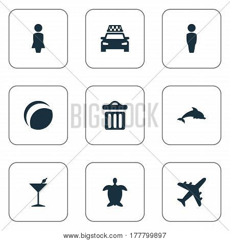 Vector Illustration Set Of Simple Seaside Icons. Elements Mammal Fish, Male, Airplane And Other Synonyms Trash, Mammalian And Dustbin.