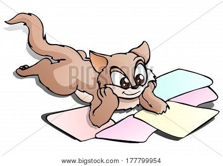 illustration of a young cat sit and see focus at papers on isolated white background
