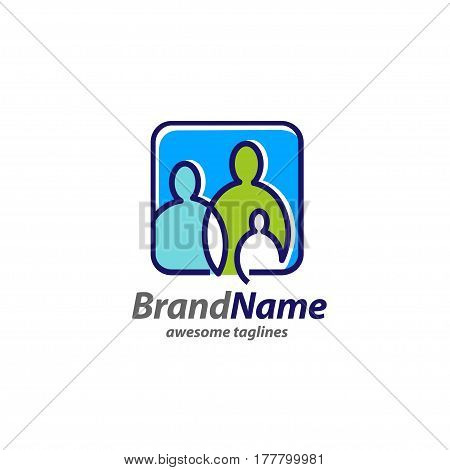 creative simple Family logo concept, simple family icon logo,simple figures dad, mom and child used for family practice, people logo, team, group, friendship. Vector Illustration