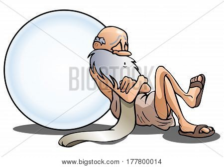 illustration of a sleeping old man take a nap lean on big ball you can write something on isolated white