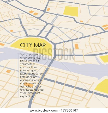 Perspective city map, abstract vector cityscape scheme, graphic plan