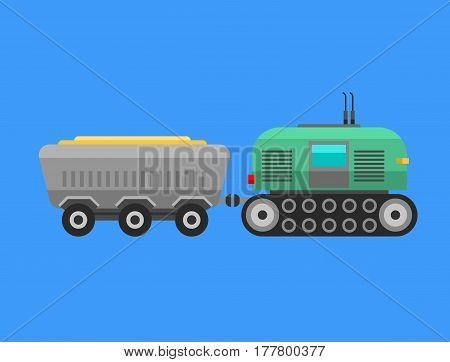 Type of agricultural vehicle or harvester machine combine and excavator icon with accessories for plowing mowing, planting and harvesting vector illustration. Transportation land industry.