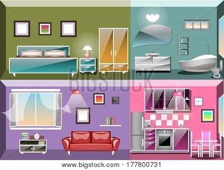 Living room, bedroom, kitchen and bathroom Vector illustration