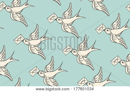 Seamless pattern with old school vintage bird and postal envelope with heart in engraving style on turquoise background. Hand drawn design for wrapping paper, fabric background. Vector illustration