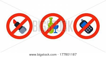 Flat illustration no lipstick sign make up of cosmetic element product concept and talking phone design of make up procedure vector illustration. Protection warning information tool.
