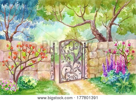 Watercolor landscape The gate to the garden. A sunny day a garden with flowers a flower garden. Fruit trees. Painting painting or illustration suitable for the cover of a diary notebook or diary. Poster print. Green lawn. Paradise