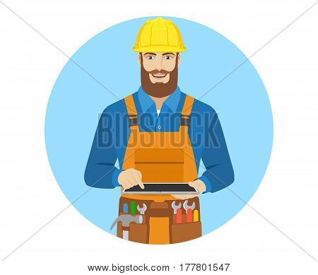 Worker uses digital tablet PC. Portrait of worker in a flat style. Vector illustration.