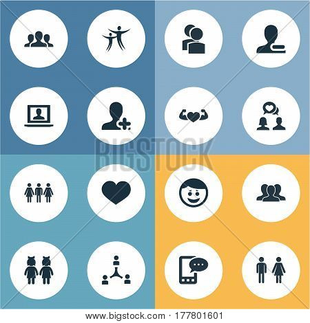 Vector Illustration Set Of Simple  Icons. Elements Pals, Dance, Online Talking And Other Synonyms Friends, Unity And Message.
