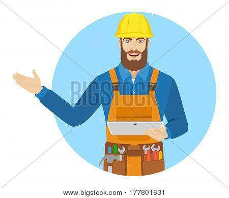 Worker holding digital tablet PC and showing something beside of him. Portrait of worker in a flat style. Vector illustration.