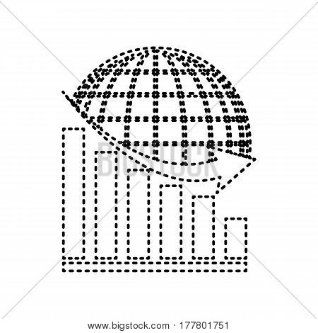 Declining graph with earth. Vector. Black dashed icon on white background. Isolated.