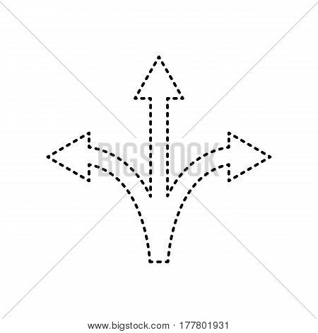 Three-way direction arrow sign. Vector. Black dashed icon on white background. Isolated.