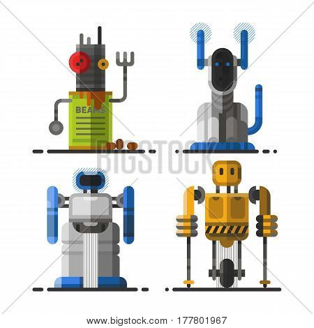 Cute vintage robot technology machine future science toy and cyborg futuristic design robotic element icon character vector illustration. Cartoon space retro android graphic mechanical monster.