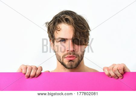 Bearded man short beard. Caucasian sexy young serious macho with stylish beard and moustache holding pink plank isolated on white background