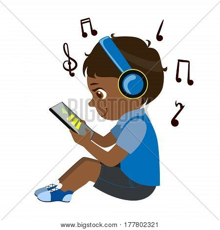 Boy Reading Text From Tablet And Listening To Music Through Headphones, Part Of Kids And Modern Gadgets Series Of Vector Illustrations. Smiling Kid Addicted To Electronic Devices, Active Internet Technologies User.