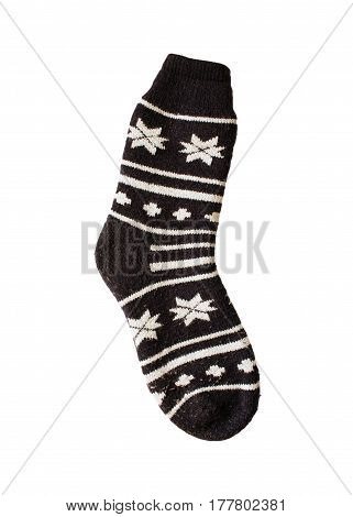 Christmas Sock With Snow Flakes Pattern Isolated On White Background