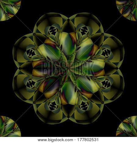 Seamless pattern in shape of green leaves on a black background. Circular ornament. Spirituality, eco, yoga concept. Vector illustration for your design needs