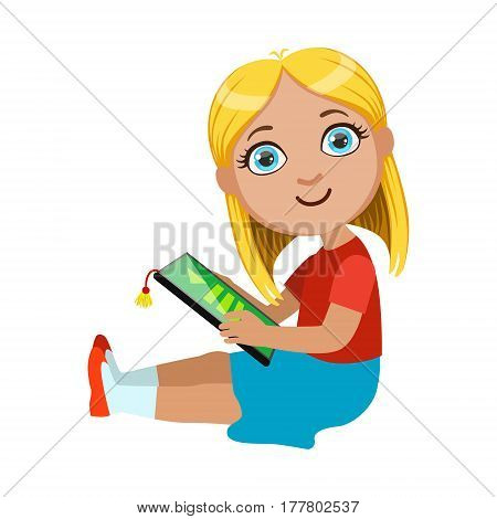 Brond Girl Sitting Reading Electronic Book, Part Of Kids And Modern Gadgets Series Of Vector Illustrations. Smiling Kid Addicted To Electronic Devices, Active Internet Technologies User.