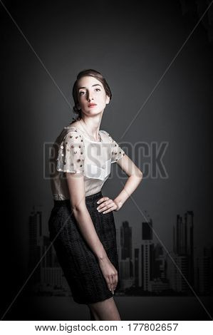 portrait of a beautiful young model posing studio shoot