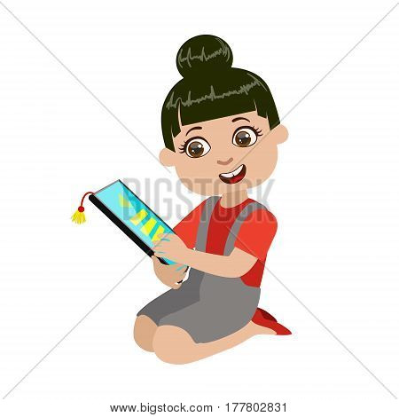 Girl Reading Text From Screen Of Tablet, Part Of Kids And Modern Gadgets Series Of Vector Illustrations. Smiling Kid Addicted To Electronic Devices, Active Internet Technologies User.