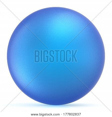 Sphere round button blue ball basic matted circle geometric shape solid figure. 3D illustration isolated